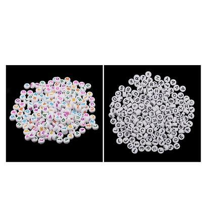 200 quality alphabet letter resin beads, white, flat round, 6mm, A-Z letters