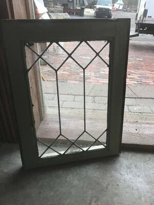 SG 2251 antique geometric leaded glass window 16.5 x 21.25