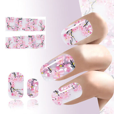 Sakura Nail Art Sticker Flowers Water Decals Transfer Foil Ongle Cherry Blossoms