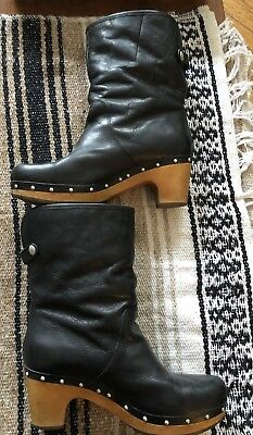 UGG BOOTS  LYNNEA Black Leather Sheepskin Winter Clog Boots 9 ... 0e153a746