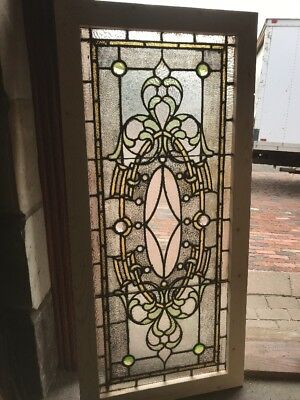 Sg 2254 Gorgeous Antique Stained Glass Textured Jeweled Window 22.25 X 48.25