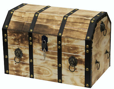 Large Wooden Decorative Lion Rings Pirate Trunk with Lockable Latch and Lock