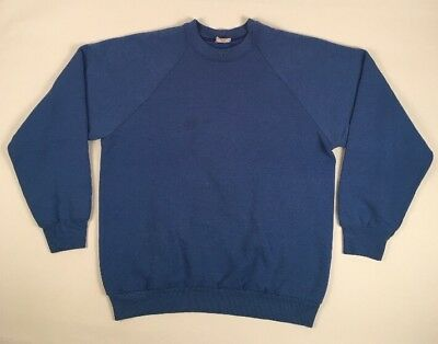 Vtg 80s DISTRESSED FRUIT OF THE LOOM BLUE Raglan Crewneck Sweatshirt L USA