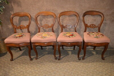 Antique Victorian Walnut Balloon Back Dining Chairs W/Needlepoint Seat  Covers