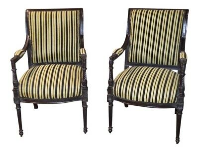Pair of Vintage Carved Regency Style Accent Chair