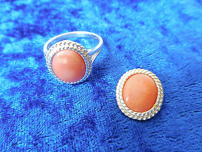 VERY BEAUTIFUL JEWELRY SET__ 925 Silver __ with Coral __ RING AND PENDANT __