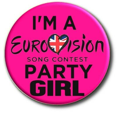 """Large Eurovision Song Contest Party Badge~ 55 Mm/ 2.2"""" United Kingdom"""