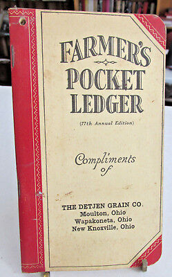 1943-44 John Deere Pocket Ledger, The Detjen Grain Co. Moulton, Wapakoneta Ohio