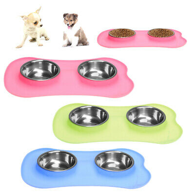 No Spill Food Bowl Dog Cat Food Water Container Dish Water Dispenser 2-bowl Set