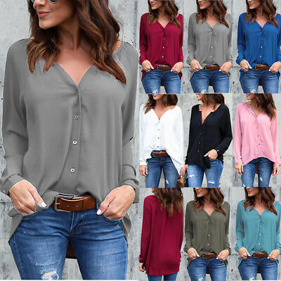 UK Womens Summer Chiffon Blouse Tops Ladies Long Sleeve Loose Casual T shirt Tee
