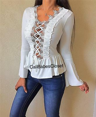 0bcfffe7ffc69d Ivory Feminine Crochet Lace Up keyhole cutout Bell Sleeves Peplum Club Top  WT4