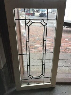 SG 2256 antique beveled and leaded glass window 19.25 x 38