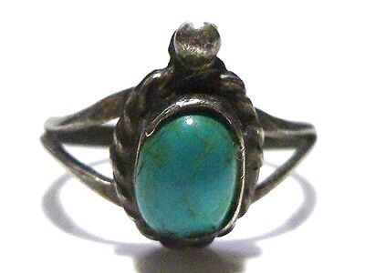 Mexico Mexican Old Turquoise Sterling Silver Womens Estate Ring Band Size 5.25