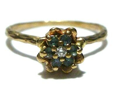 Vintage Art Nouveau Deco 14K Yellow Gold Diamond Womens Estate Ring Size 8.75
