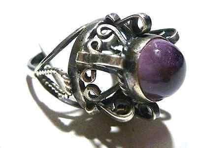 Awesome Gothic Like Antique Mexico Mexican Sterling Silver Amethyst Ring