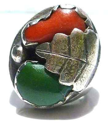Southwestern Mexico Mexican Coral Sterling Silver Old Estate Ring Size 6.25