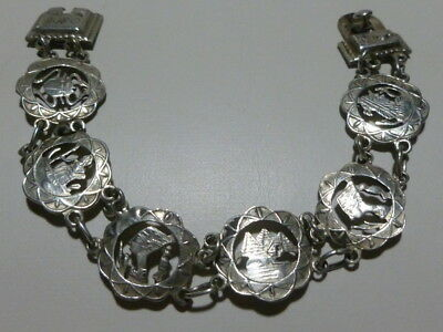 Antique Estate Art Deco Egyptian Revival Sterling Silver Ornate Panel Bracelet