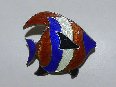 Large Beau Sterling Silver Enamel Fish Brooch Pin Estate Collector Marine