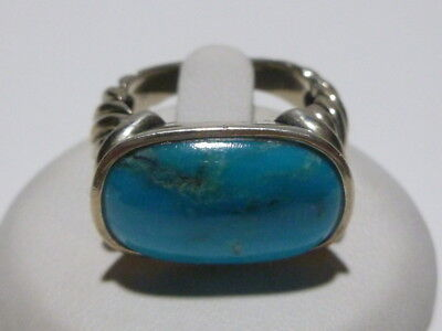 Designer Sterling Silver Turquoise Color Stone Womens Modern Ring Band