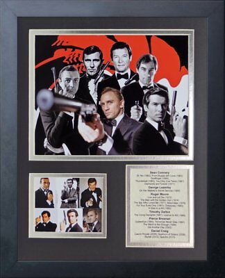 James Bond 007 Sean Connery Daniel Craig Pierce Bronson Framed 8X10 Photo