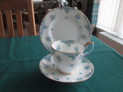 Crown Stafford F 4895 Blue & Gold Floral Trio (Tea Cup & Saucer And Tea Plate)