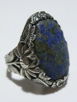 Antique Chinese Oriental Export Silver & Blue Stone Ornate Flower Ring Sz 8.5