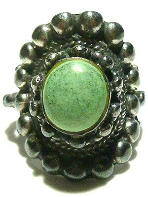 Antique Old Estate Southwestern Inspired Sterling Silver Turquoise Shield Ring