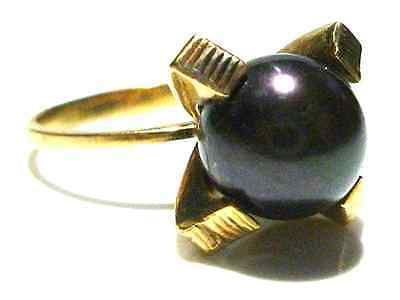 Thick Gothic Style 14K Yellow Gold Black Pearl Vintage Estate Womens Ring Sz 5