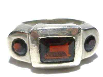 Foreign Hallmarked Garnet Glass Heavy Modern Sterling Silver Womens Ring 8.75