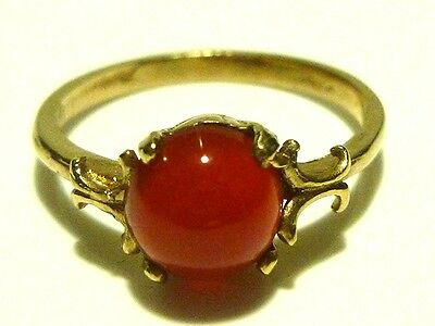 Art Nouveau Deco 14K Yellow Gold Cabochon Carnelian Womens Estate Ring Sz 5.75