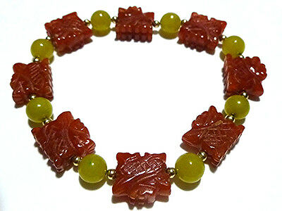 """Beaded """"Yellow Jade"""" Carved Red Jade 14K Gold Bead Chinese Export Bracelet"""