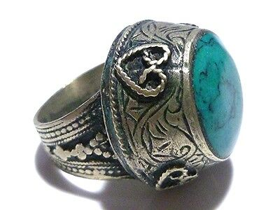 East Asian Indian Silver Over Base Metal Turquoise Blue Stone Size 8