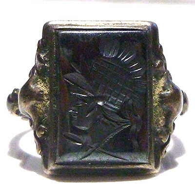 Very Old Antique Sterling Silver 10K Gold Intaglio Warrior Deco Ring Size 8