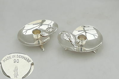 RARE PAIR of DANISH 90 GRADE SILVER ART NOUVEAU CANDLE HOLDERS