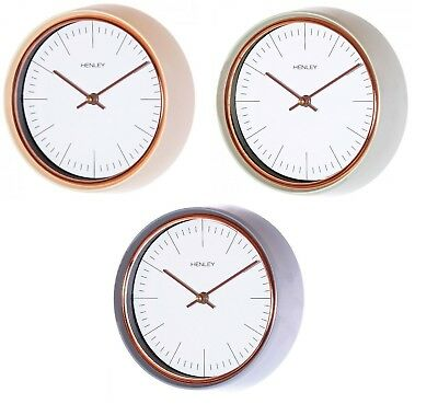 Henley White Rose Gold Dial 35cm Dome Tin Metal Case Wall Clock HCW005