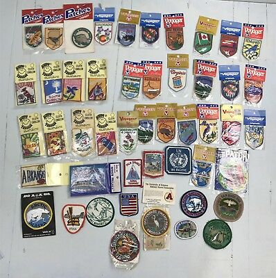 DZ- Lot of 45 vintage embroidered patches states USA destinations