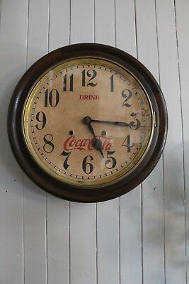 Antique 1930's Coca Cola Round Wall Clock Winsted Conn Galley Coke Advertising