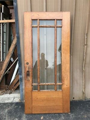 OXF 26B antique oak beveled glass townhouse entry door 36 x 79.75