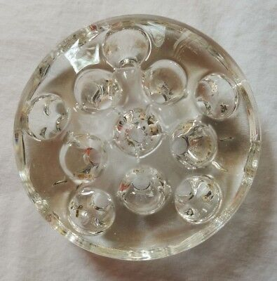 Vintage Flower Frog 11 Holes Straight Sides No Lip Clear Round Glass Floral Stem