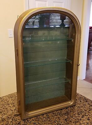 Vintage Italian Wall Hanging Curio Display Cabinet Glass