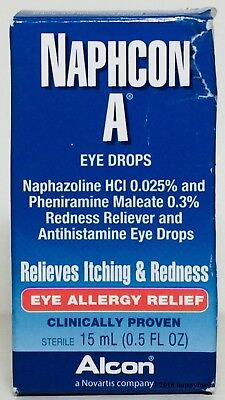 Naphcon A Eye Allergy Relief Drops 0.5 oz Relieves Itching & Redness OCT 2018