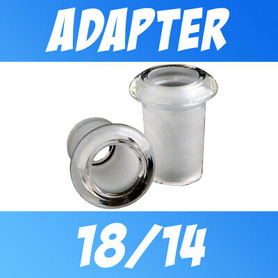 Scientific Glass Joint Adapter Reducer Converter 18mm Female to 14mm Male Stubby