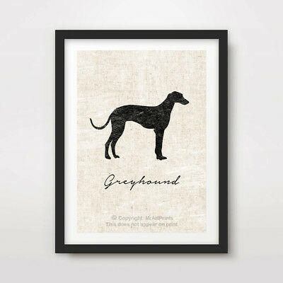GREYHOUND DOG ART PRINT POSTER Breed Black Silhouette Vintage Outline Picture