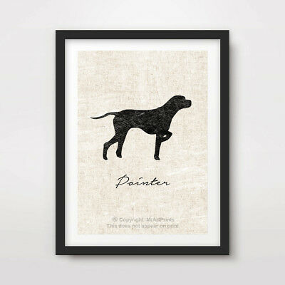 POINTER DOG ART PRINT POSTER Breed Black Silhouette Vintage Outline Animal Wall