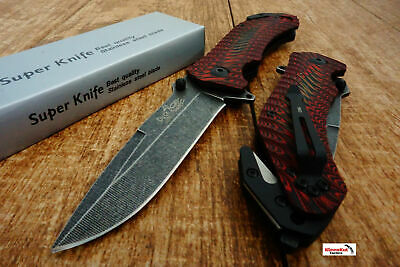 "8.5"" Red Spring Assisted Tactical Pocket Knife Micarta Handle Folding Blade NEW"