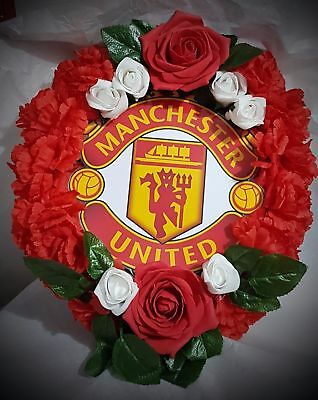 Manchester United Football Club Funeral Wreath - Artificial Silk Flower Tribute
