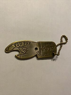 Coca Cola Brass Coke Spinner SEE WHO PAYS Antique Style Keychain NR