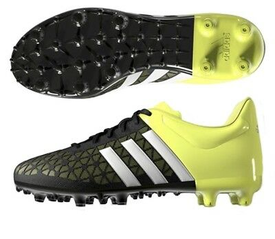 9499fa34a8f6 ADIDAS ACE 15.1 FG/AG Men's US 7.5 Soccer, Black/White/Solar Yellow ...