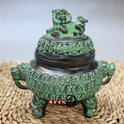 China Exquisite Collectible Old Handwork Bronze Lion Incense Burners Fengshui