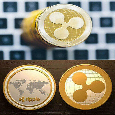 2x Ripple physical Collectible Coin Commemorative XRP World Coin Gold plated